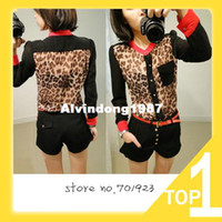 Polyester Women Button Hot Sale 2013 New Fashion Women Chiffon Top Blouse Long Sleeve pocket Leopard patchwork free shipping XS M L XL XXL Y3817