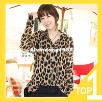 Polyester Women Button 2013 New Korean Style Women's Wild and Sexy Leopard Chiffon , Fashion Blouse For Young Ladies, M - XXL A2093