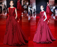 affordable fashion trends - 2014 New Elie Saab Fashion Trends Hot Red Beads Sequins Appliques Crew Neck Long A Line Modest Wedding Evening Dresses Affordable Gowns