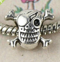 Wholesale MIC Tibetan Silver Pirate Sign Skull Spacer Bead Fit Charm Bracelet X15mm