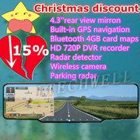 Gps Navigator 4.3 800x480 HOT SALES 4.3'' Rearview Mirror with Built-in Car GPS navigation+Bluetooth+HD 720P DVR recorder+radar detector+rear view camera