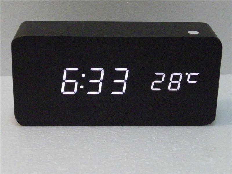 2017 Modern Desk Clock Black Wood Usb Aaa Cube Alarm