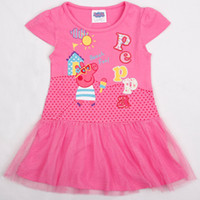 Wholesale Hot lovely kids PEPPA PIG christmas cute dress cotton summer girls cartoon princess dresses