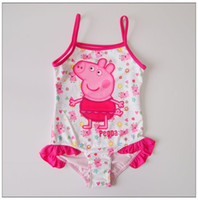 Wholesale Hot lovely baby PEPPA PIG cute swimwear cotton summer girls cartoon one piece bathing wear