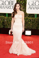 Reference Images Trumpet/Mermaid Sleeveless Megan Fox 2014 Ivory Color Strapless New Fashion Mermaid Celebrity Red Carpet Dress Lace