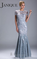 Reference Images ups - 2014 New Grey Mother of the Bride Dresses Scoop Laced Mermaid Gown Floor Length Applique Beads Covered Button And Zip Up Closure by Janique