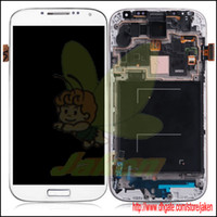 Wholesale Original White LCD Complete With Digitizer Touch Display Screen With Frame For Samsung Galaxy S4 I9500 LCD Replacement Free By DHL