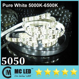 Waterproof SMD 5050 5M 300 Leds Pure White Flexible Led Strip Lights For Christmas Living Room Hotel Lights + Free Female Plug