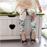Leggings & Tights big leggings - New Arrival Girls Leggings Spring Autumn Baby Girls Big Flower Soft Close fitting Leggings