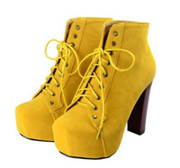 stylenanda - Jeffrey Campbell women square head thick with high with lace stylenanda bare boots knight boots