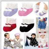 0-6Mos baby boy borders - Newest cute baby girl dot shoes socks decorative border princess socks pairs W421