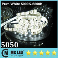 Wholesale 5M Led Pure White Waterproof Flexible Strips Light SMD Leds V High Bright For Christmas Living Hotel Lights CE ROHS