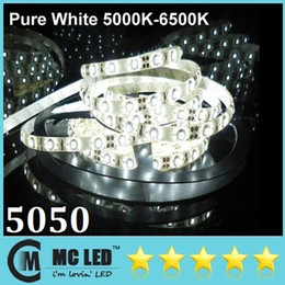 5M Led Pure White Waterproof Flexible Strips Light 5050 SMD 300 Leds 12V High Bright For Christmas Living Hotel Lights + CE ROHS