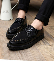 Wholesale Alexandria man soled platform shoes casual shoes British personality pointed black shoes