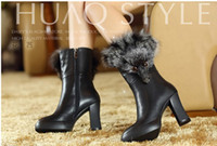 Wholesale Women winter new comfortable leather high heeled boots fox head velvet boots