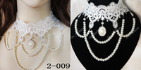 Wholesale Vogue White Lace Wedding Party Collar Necklace Chokers Pearls Chain Women Bridal Jewelry Christmas Gifts Lace2
