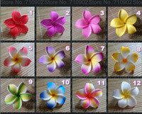 Wholesale Inch Hawaiian Plumeria Foam Flowers Hair Clips colors mixed