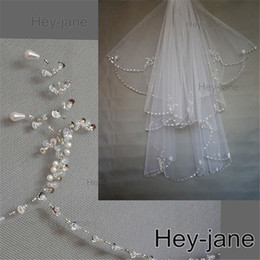 Beaded Unique Wedding Bridal Veil Free Shipping New Arrival 2T two layer white ivory Crystal Pearl Exquisit