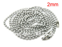 """Clasps & Hooks   JLB 50Pcs 2mm 70cm(27"""") Fashion Jewelry Silver Tone Ball Beads Chain Necklace Bead Connector free shipping"""