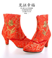 Wholesale Bride winter boots red high heeled shoes platform wedding shoes wedding shoes bridal shoes short boots red boots