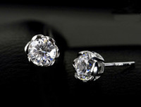 Wholesale Jenny G Women s Jewelry Silver Round White Sapphire Gemstone Clear CZ Flower Stud Earrings a pair