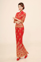 Wholesale Paillette half sleeve twinset cheongsam slim hip fish tail toast the bride formal dress