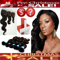 Wholesale Pre Christmas SALE Brazilian Virgin Hair Bundles Pc Lace Closure With Hair Bundles Brazilian Remy Unprocessed Hair Extensions