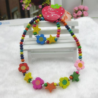 Bracelet & Necklace Celtic Children's New Arrival Colorful Flower Rabbit Wooden Jewelry Sets for Kids Beads Necklace+Bracelet Christmas Gifts KJS006
