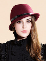 Wholesale Antique Burgundy Bow Wool Woman s Hat women fedora hats u7 VHG