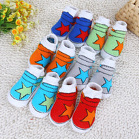 Wholesale Newborn Baby Pop Stars Shoe Socks Booties Sneakers For winter Spring Girl Non Skid Socks star warm socks shoe socks
