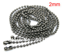 Wholesale 50Pcs mm cm quot Fashion Jewelry Gun Black Ball Beads Chain Necklace Bead Connector
