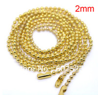 "Clasps & Hooks   JLB 50Pcs 2mm 70cm(27"") Fashion Jewelry Gold Plated Ball Beads Chain Necklace Bead Connector free shipping"