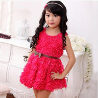 Wholesale New Arrival Childrens Best Sale Five Colors Lace and Rose Fashion Princess Dress Korean Style Ball Gown Dress