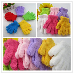 Wholesale Baby Kids Mittens Gloves Coral Fleece Children Warm Winter Five Finger Gloves Gifts Candy Color