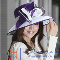 Wholesale Women church hat ladies satin dress hat polyester hat diamond casings satin fabric decoration ribbons winter new arrival