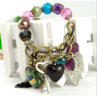 Wholesale Lovely Heart Peacock Leaf Key Colored Pearl Beads Bracelet Bohemia Style Bracelet