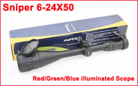 Wholesale SNIPER X50 Full Size AO Mil dot Red Green Blue illuminated Zero Locking Resetting Scope