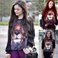 Cotton Pullover Women Hot Sale European fashion women's autumn clothing 3D lion design personality fleece hoodie pullovers
