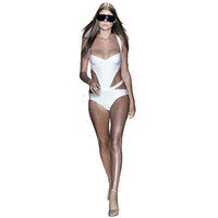 Wholesale 2014 World Cup Sexy Bandage dress Celeb White And Black Bikini Monokini Beachwear bikini swimwear XS S M
