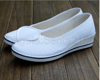Wholesale 1pair Womens White Nurse Shoes Wedges Casual Canvas Fashion Classic For Work Size