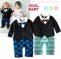 Boy Spring / Autumn  Wholesale - 11294 boys gentleman romper baby long sleeve jumpsuits cool baby autumn clothing infant one piece ttgmy