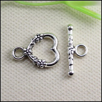 Wholesale 100set mmx mm Toggle bar mm Copper Buckle Hook Tibetan Silver Heart Toggle Clasps Connectors Jewelry Findings