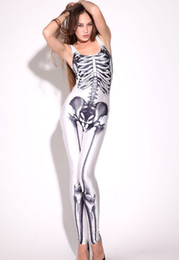 Wholesale Womens Skeleton Bones Punk Romper Jumpsuit Zentai Catsuit Set Sexy Cosplay Costume Clubwear LC6205
