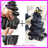 Brazilian Hair Body Wave Hair Extension Free Shipping three 3 part lace top closure bleached knots with 3 bundles unprocessed brazilian virgin hair body wave 4pcs lot