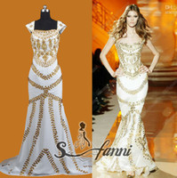 Model Pictures Strapless Chiffon Real Sample Arabic Cap Sleeve Mermaid Long White Chiffon Gold Crystals Beaded Zuhair Murad Evening Dress