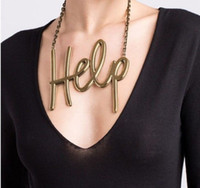 Asian & East Indian big gold jewellery - Hot Big Letter Help Gold Hollow Charm chain Necklace Pendant Fashion Jewellery