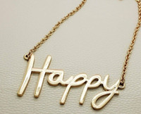 Asian & East Indian big gold jewellery - Hot Big Letter Happy Gold Hollow Charm chain Necklace Pendant Fashion Jewellery