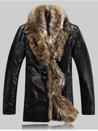 Wholesale Top luxury plus size new fashion slim Men s Winter Warm middle length outwear fur leather coat