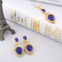 Earrings & Necklace Crystal, Rhinestone Alloy Top Quality big crystal necklace blue earrings fashion women accessories wholesale gold jewelry A552