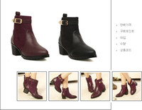 Ankle Boots PU Kitten Heel Competitive Price 2013 new winter Europe soled shoes with thick metal buckle Martin boots naked boots women boots ankle boots wholesale